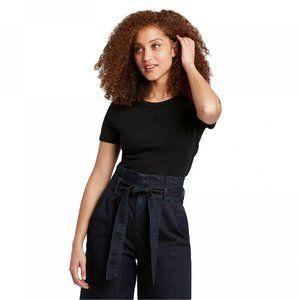 NWT A New Day Ribbed Crewneck T-Shirt XL Black